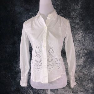 Theory eyelet blouse sz small